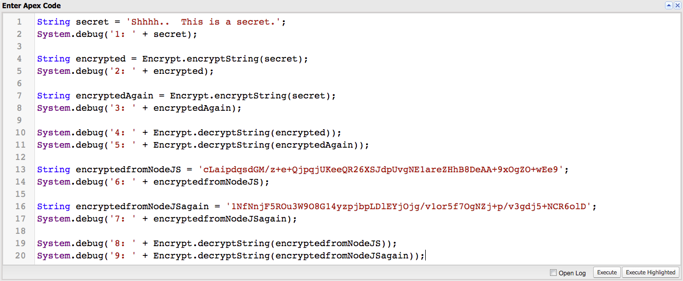 Encrypting and Decrypting on Salesforce and Node js